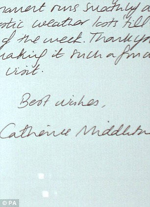 A handwriting expert claims the right-slanting cursive of the then Catherine Middleton, now the Duchess of Cambridge, indicates she'd make a good teacher thanks to her punctual yet open nature