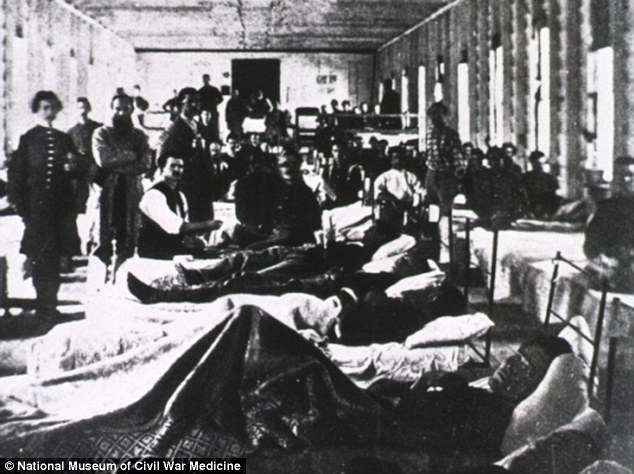A hospital ward in a convalescent camp in Alexandria, Virginia, pictured in the 1860s. In crowded camp conditions, infectious diseases spread rampantly and took more lives than battlefield injuries