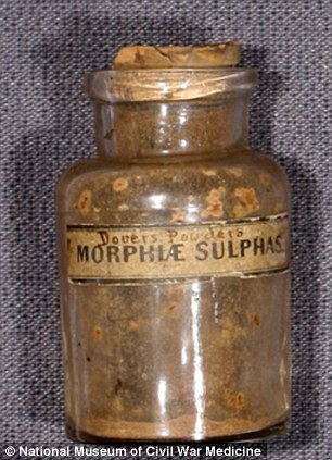 This bottle contains Dover's Powder, a mix of opium and ipecac that was used to relieve pain and induce sweating