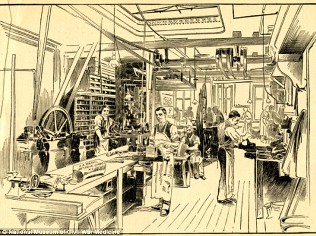 This picture shows a prosthetics factory in the late 1800s. Almost 150 patents were issued for artificial limb designs between 1861 and 1873