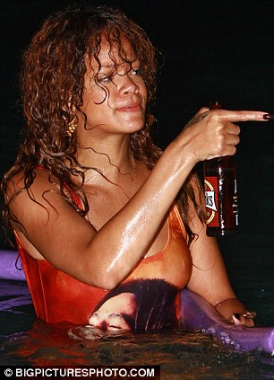 Rihannas boozy night dip in Bob Marley swimsuit in