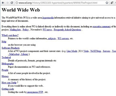 Basic: Tim Berners-Lee's first web site was simply a page of links to allow scientists to share data and news