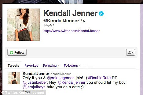 Agreement: Kendall accepted Bieber's offer, providing he brings his girlfriend Selena Gomez