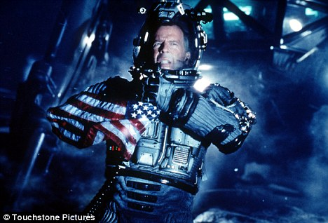 Brucey bonus: Armageddon starred Bruce Willis as the leader of a team of astronauts who destroy an asteroid that threatens to wipe out Earth