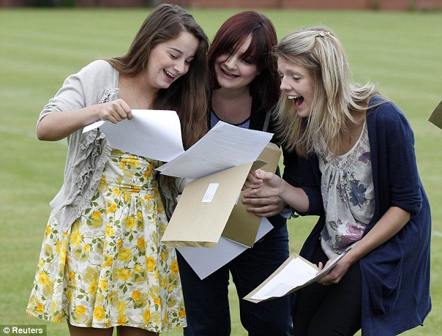 Ellie Atkinson, Grace Carroll and Alison Coxon are overjoyed as they open their envelopes at Withington Girls School in Manchester