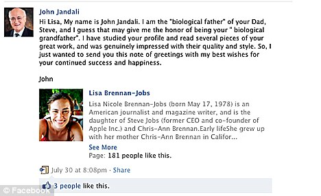 Grandfather; Mr Jandali tried to contact Jobs' daughter Lisa through Facebook as he is trying to reconcile with his biological son before it is too late