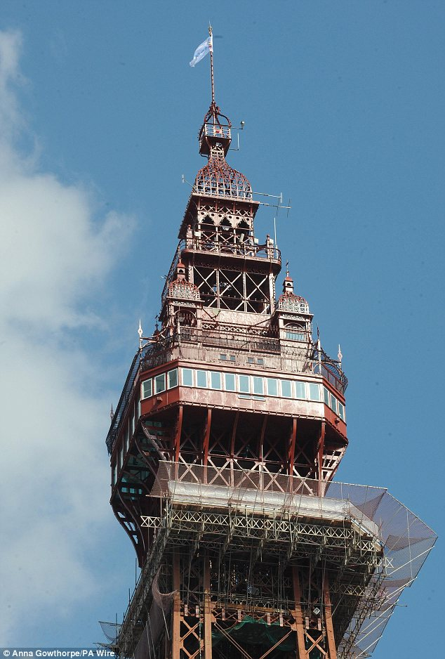 Former glory: A view of the newly refurbished upper levels of Blackpool Tower, now renamed the 'Blackpool Tower Eye' where visitors can climb to 450ft of the tower's 518ft total height for spectacular views