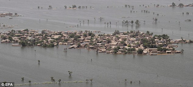 Downed: The Pakistan flood entirely submerged areas such as in Shahdadkot in Sindh province, Pakistan