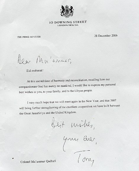 Personal wishes: A letter from Tony Blair to Gaddafi on December 28, 2006