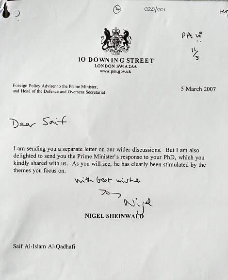 Praise: A letter from Government Foreign Policy adviser Nigel Sheinwald to Gaddafi's son Saif on March 5, 2007