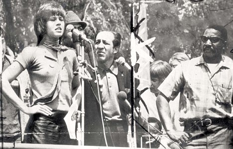Protest: Fonda often went braless to distract soldiers but her protests actually created problems and at one stage she was told by Indians she could not be their spokesman