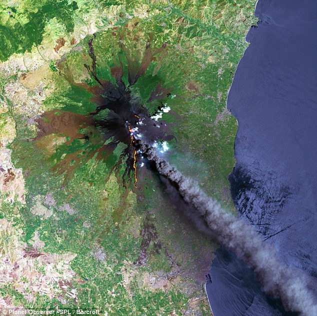 Up in smoke: Another stunning satellite image shows smoke coming from Mount Etna, on the eastern part of Sicily