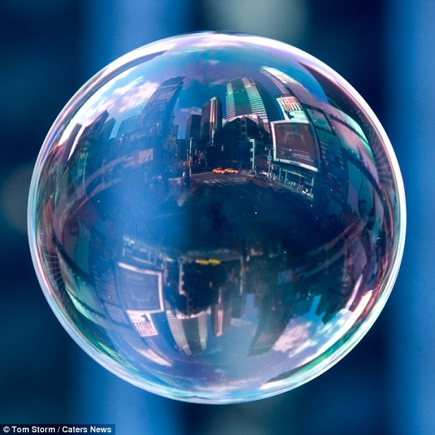 Pop art: Times Square in New York gets the bubble treatment from Tom Storm in this picture
