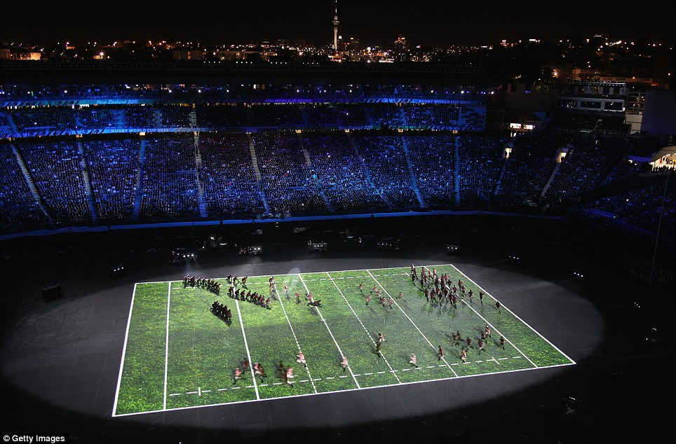 The stage is set: Hundreds of dancers were involved in the ceremony, watched by 60,000 fans at Eden Park