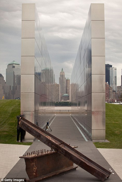 Empty Sky Memorial structure is seen during the structure's dedication at Liberty State Park