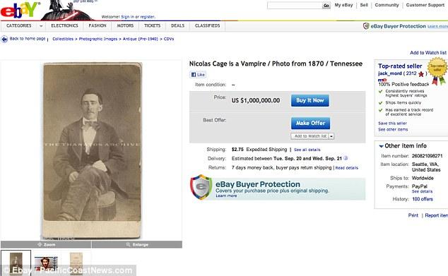 Lista de precios: El vendedor, que ha puesto el precio a partir de $ 1 millón, dice que la foto es de 100 por ciento real y fue tomada de un hombre de Bristol, Tennessee, en la época de la Guerra Civil