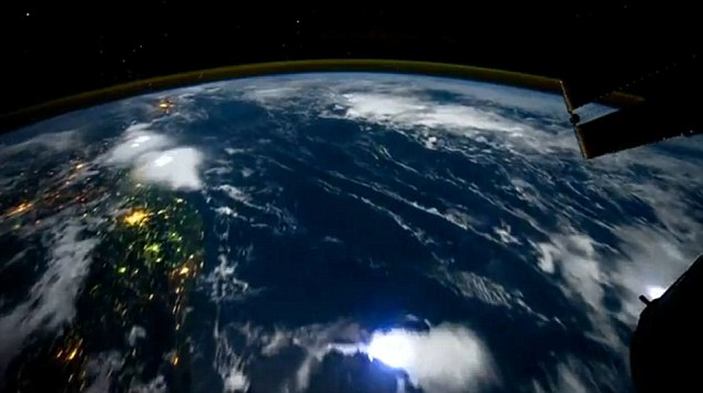 Flashes of lightening can be shown over the Pacific Ocean
