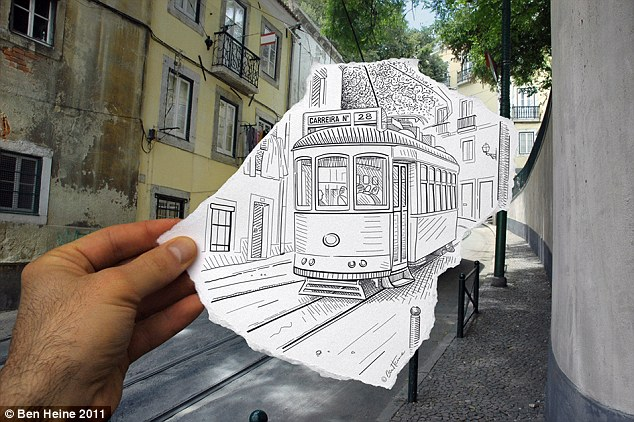 Hitching a ride: An old-fashioned tram is seen rattling through a quiet street... but there's more to this than meets the eye