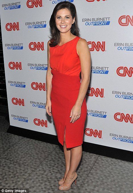Stylish: The savvy reporter slipped into a Scarlett shift dress and nude patent Christian Louboutin stilettos for the occasion