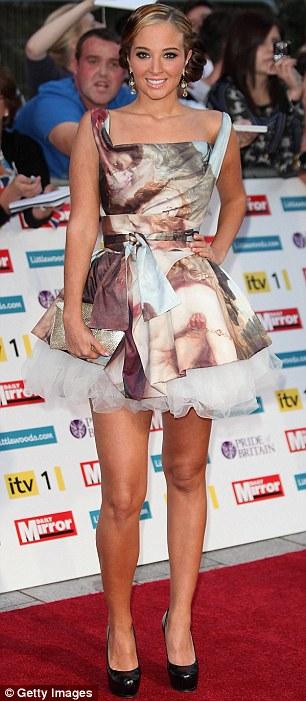Golden girls: Daybreak presenter Christine Bleakley glowed in a gold bandage dress, while X Factor judge Tulisa Contostavlos wore a Renaissance-print number
