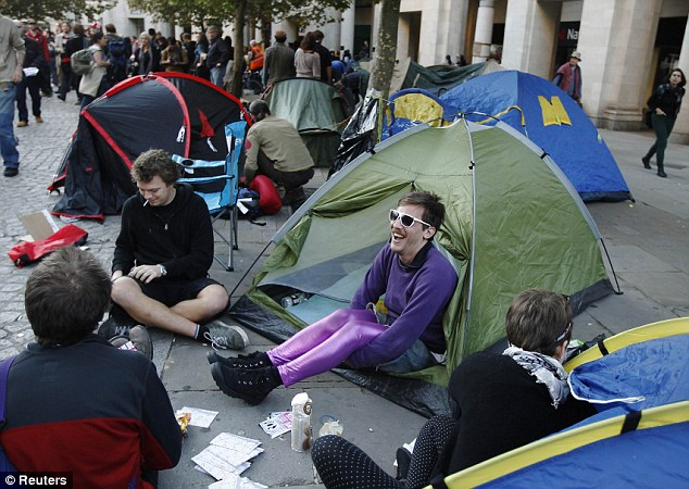 Pitched battle? Some of the demonstrators outside the London Stock Exchange appeared to treat the event more like a camping holiday