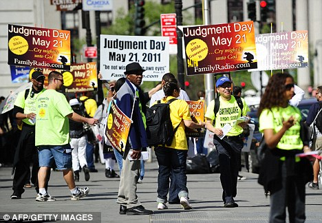 It's about to happen... er, no it's not: Activists who believed that 'Judgement Day' would happen on May 21, 2011 took to the streets of New York