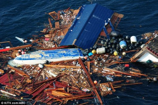 On its way: Debris from the tsunami is approaching Hawaii