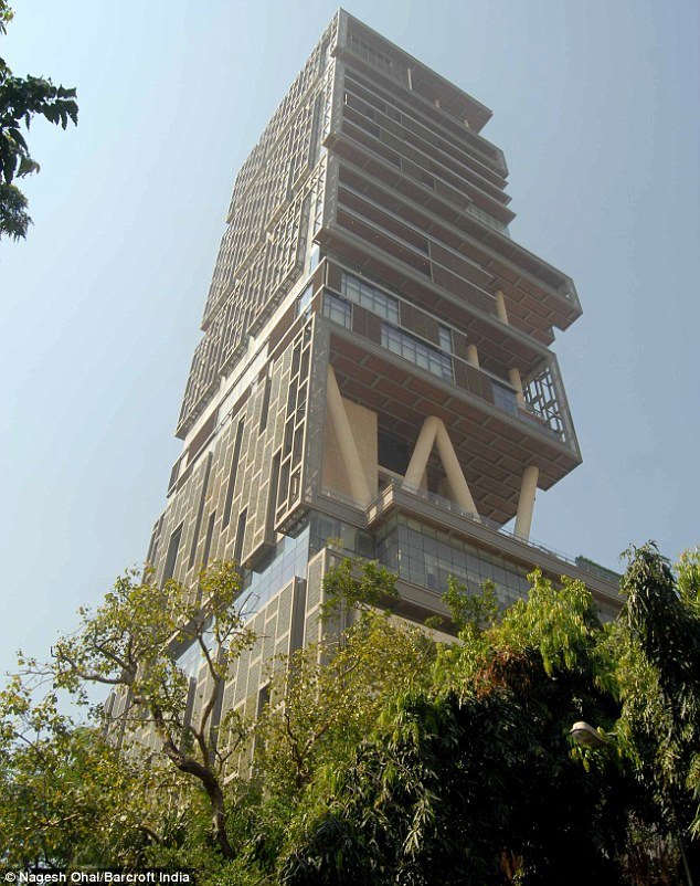 Expensive: The ancient Hindu tradition of vastu shastra emphasises the importance of facing the rising sun, but Antilla is said to not have enough windows on its eastern side