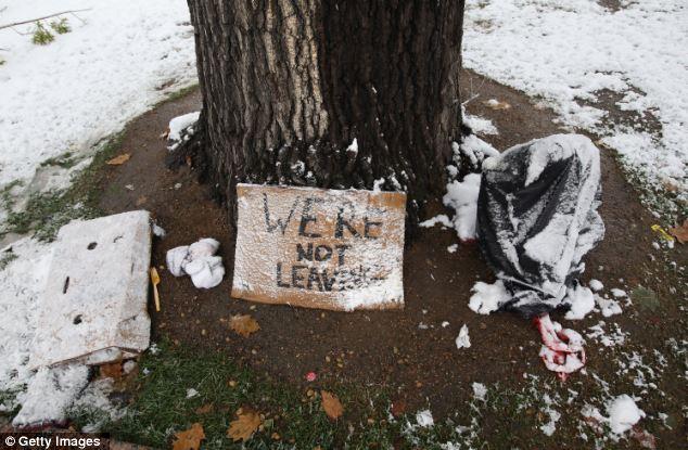 Campo de Crazy: un muñeco de nieve polvo cartel de protesta se sienta bajo un árbol en el campamento de 'Ocupar Denver