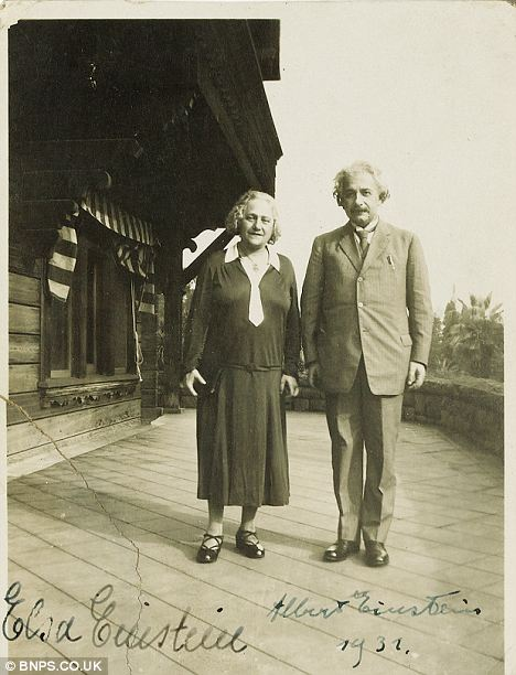Collector's item: Behind every great man is a great woman, and here's the proof - a rare signed photograph of Albert Einstein and his wife Elsa