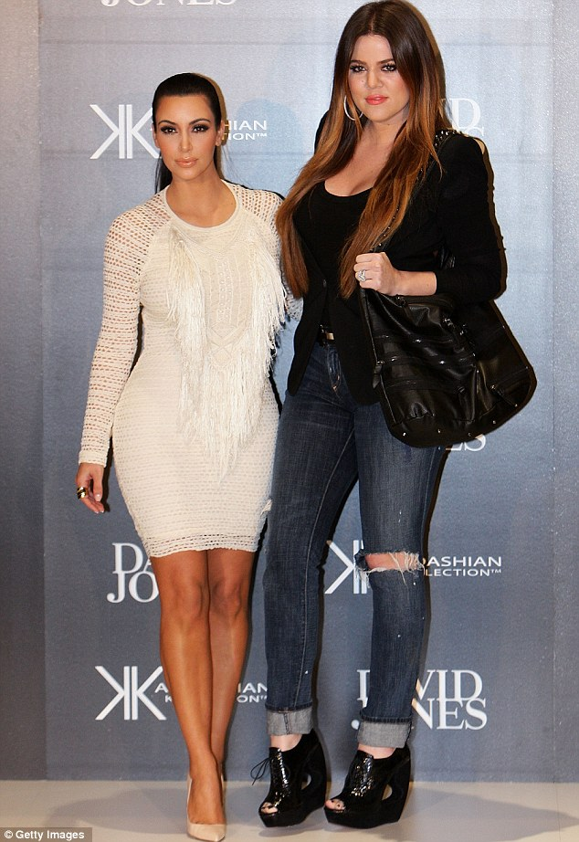 Promotional blitz: Kim Kardashian with her sister Khloe in Australia yesterday. She has since decided to cut short her trip