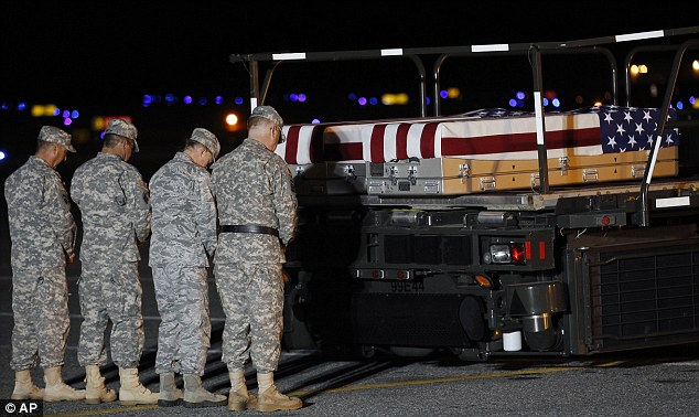 Solemn duty: Chaplain Col. Scott Jensen, left, leads a prayer over the cases containing the bodies of private Butcher and her colleague Specialist Christopher Gailey. The pair were killed by a road side bomb in Afghanistan's Pakita province