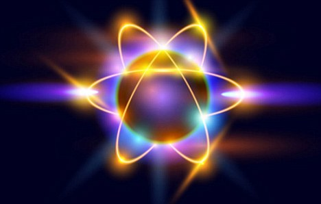 An atom is a nucleus of protons and neutrons, with electrons orbiting around