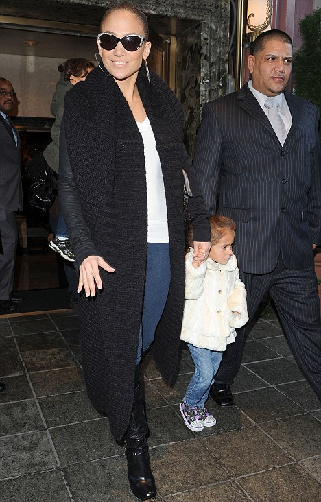 Mummy duty: Jennifer Lopez left her New York hotel with daughter Emme today