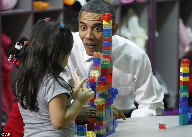 Child's play: President Barack Obama visits a classroom at Yeadon Regional Head Start Center in Yeadon, Pennsylvania today