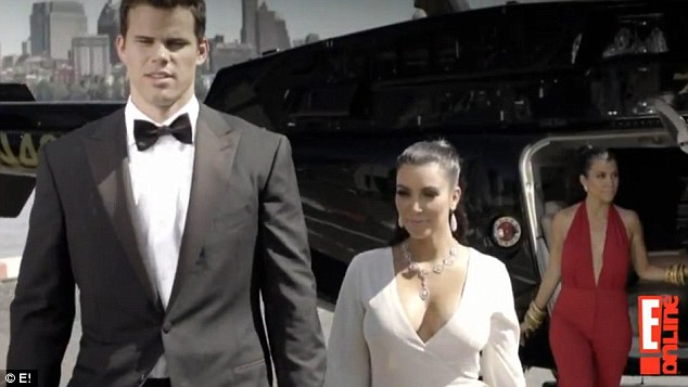 Suited and booted: Kim, Kris and sister Kourtney disembark from a helicopter in another scene from a teaser trailer for the E! show released earlier this month