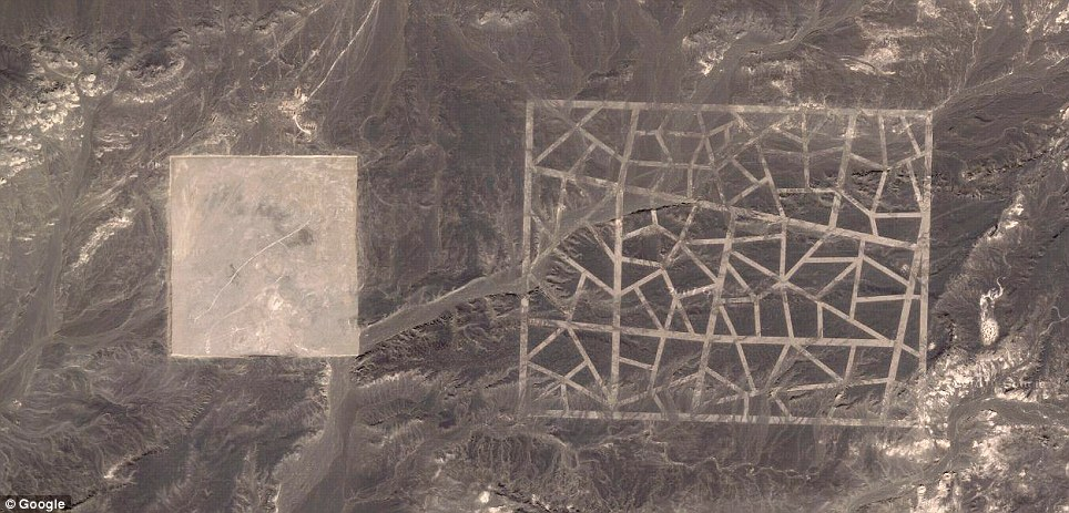 No identificada: Esta extraña estructura fue descubierta por un satélite de Google Maps en las fronteras de la provincia de Gansu y Xinjiang