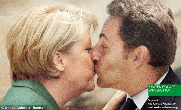 Mocked-up: Germany's chancellor Angela Merkel in a clinch with French president Nicolas Sarkozy
