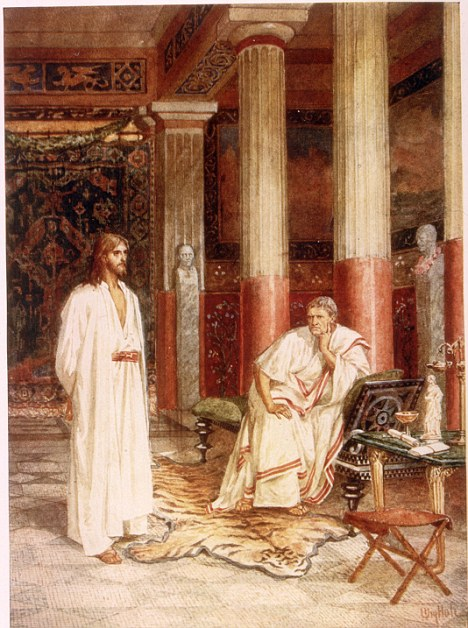 Jesus with Pontius Pilate: Pilate was the successor of the official whose face was printed on the coins