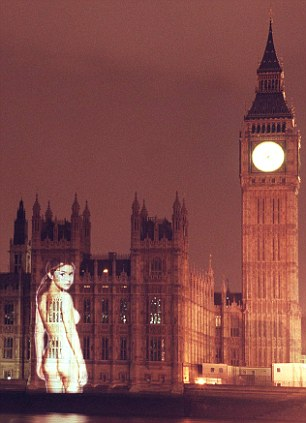 Cheek: A naked Gail Porter was beamed on to the side of the Palace of Westminster for a magazine stunt in 1999