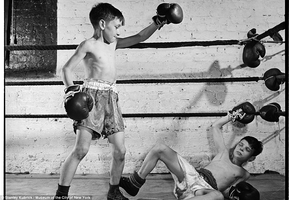 Out cold: Boys boxing in the Police Athletic League in 1946