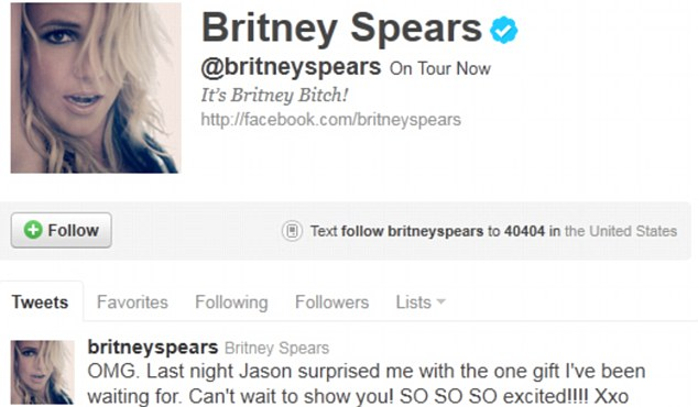 Thrilled: The pop star posted this message on her Twitter page this morning