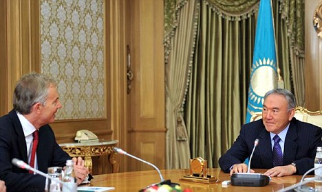 Dubious: Tony Blair and Kazakhstan president Nursultan Nazarbayev in the capital Astana in November