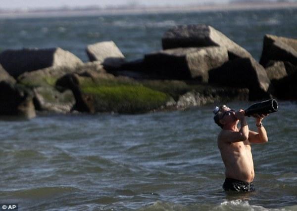 Coney Island Polar Bear Club Bathers brave chilly waters
