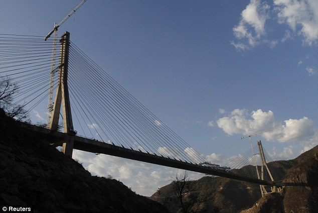 Massive: The bridge connects the north-western state of Sinaloa with Durango and Mazatlan at 403 meters or 1,322 feet in height
