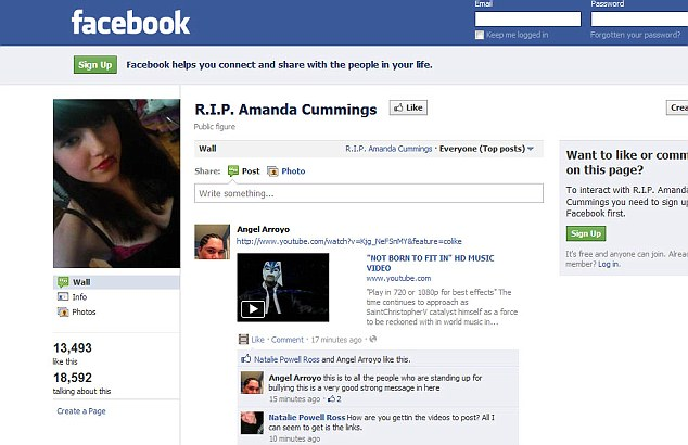 Amanda Cummings Suicide Hate Messages On Facebook Tribute