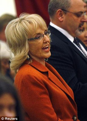 In attendance: Arizona governor Jan Brewer and intern Daniel Hernandez were both at the Sunday service
