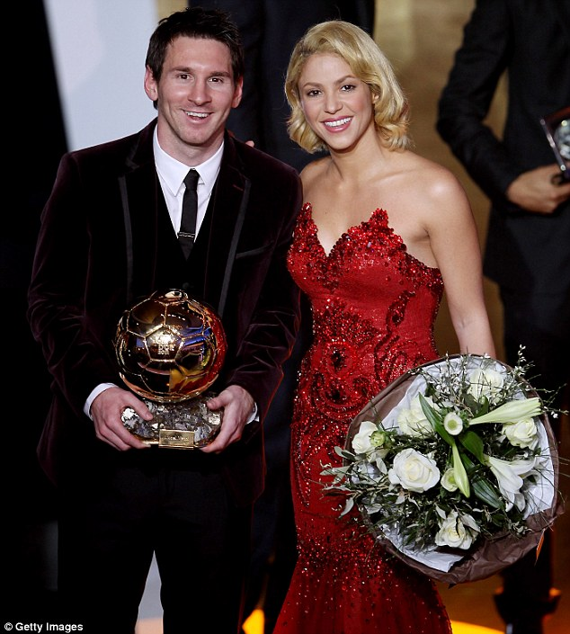 Winner: Shakira was on hand to congratulate Argentinian Barcelona player Lionel Messi for picking up the coveted trophy
