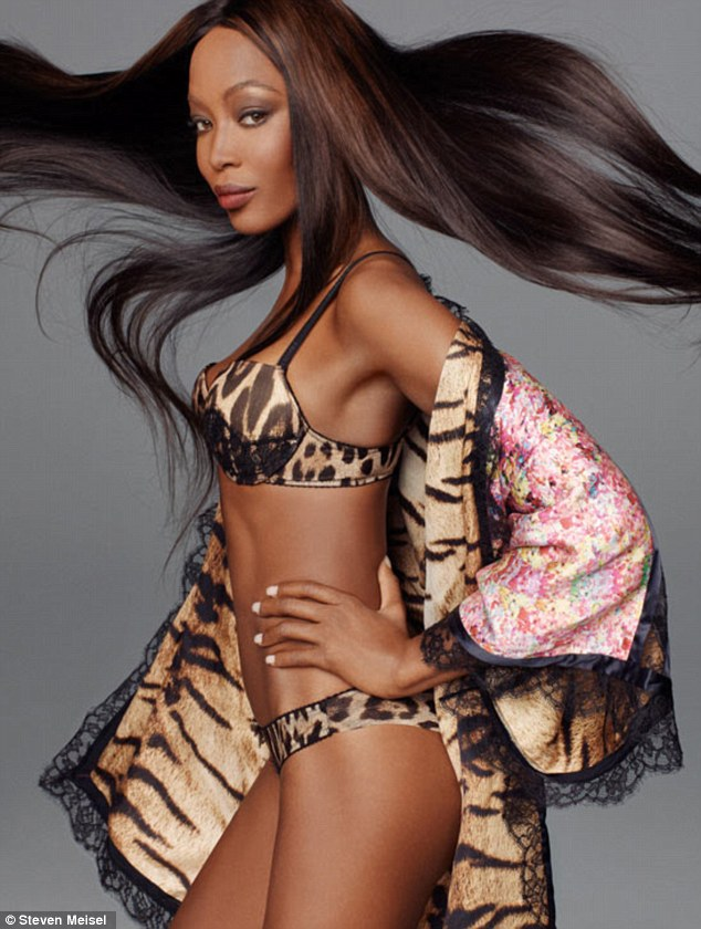 Modelling into her forties: Naomi Campbell, 41, showed off her extremely toned figure in this leopard-print underwear in the spring campaign for Roberto Cavalli