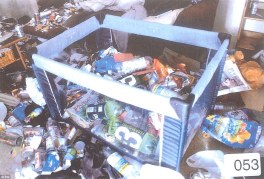 Rubbish strewn cot: Declan Hainey's bed filled with waste including empty bottles of Irn-Bru, 3 Hammers cider, Lucozade, viodka and crisp packets. On the table are strewn cans of Tenants beer and more snack packaging, with more rubbish on the floor